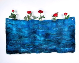Water Blue Seaweed Felt Stem Vase, Wall Hanging Felt Vase, Home Interior, Felt Vase, Wall Decoration,
