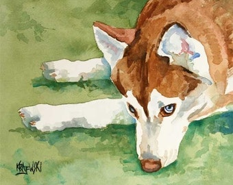 Siberian Husky Art Print of Original Watercolor Painting - 11x14
