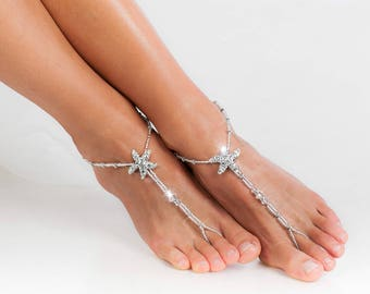 Rhinestone Starfish Silver Beaded barefoot sandals Bridal foot jewelry Beach wedding Barefoot Sandals Bridal shoes Footless sandals Thongs