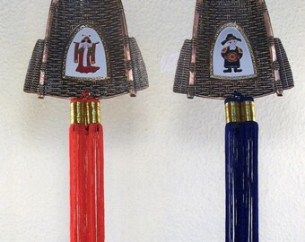 SALE Two Japanese Home Decorations // Metal // Man // Woman // Basket Weave // Red & Blue Tassel // Festival // Celebration // WAS ***20.00