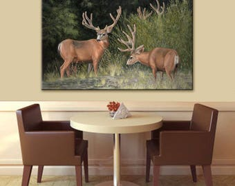 Mule Deer Art | Wildlife Painting | Deer Art | Landscape Painting | Deer Painting | Deer Print | Wall Art on Canvas