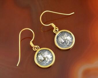 ancient greek coin silver golden earrings, Athena earrings, ancient coin, coin earrings, antique earrings, antique coin earrings