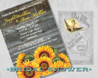 Rustic Couples Shower Invitation - Sunflowers, Wood - Printed Bridal Shower Invitations - BBQ, Rehearsal Dinner Invite
