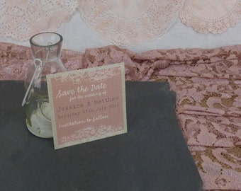 Blush Vintage Lace Personalised Wedding Save the Date
