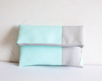 Mint clutch, vegan faux leather clutch, mint clutch, summer clutch purse, fold over clutch purs