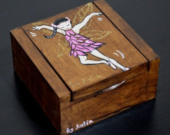 Hand painted Wooden Box Fairy