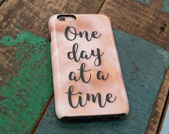 AA - 'One Day at a Time' - Alcoholics Anonymous Phone Case for iPhone and Samsung Galaxy (Marble and Gold Effect)