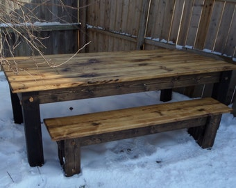 RUSTIC Wood TABLE Large Set Cabin Farmhouse 48x96x31h 8 Foot Kitchen Dining Farm House Table