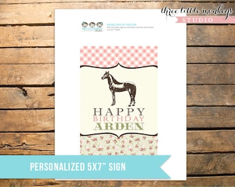 "Vintage Pony Party Personalized 5x7"" Sign"