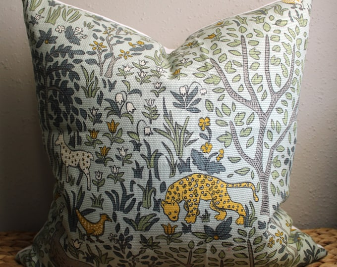 """DISCONTINUED mint green """"forest and friends"""" pillow cover"""