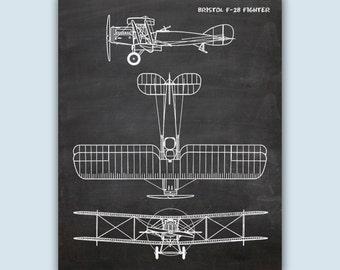 Aviation Poster, Aviation Wall Art, Chalkboard Print, Airplane Decor, Pilot Gift, Airplane Art, Airplane Poster, Bristol F-2B Fighter Print