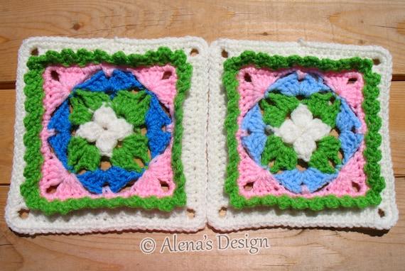 Crochet Pattern 167 - Granny Square - Crochet Patterns - Spring Garden Square - Crochet Afghan Block - Crochet Blanket Pattern - Pillow