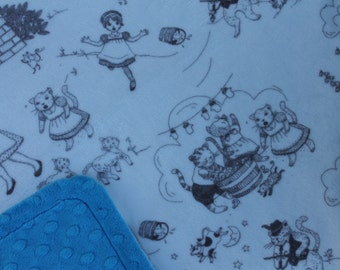 Minky Blanket - Nursery Rhymes Minky with Bright Blue Dimple Dot Minky Backing - stylish baby blanket