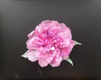 Pure silk handmade flower statement brooch. Peony, rose.