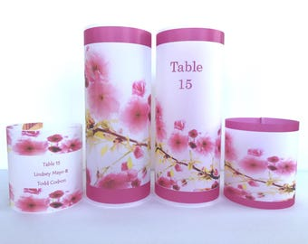Cherry Blossom Wedding, cherry blossom luminary, floral, Table number, Decor Wedding reception luminaries - place card name holder, candle