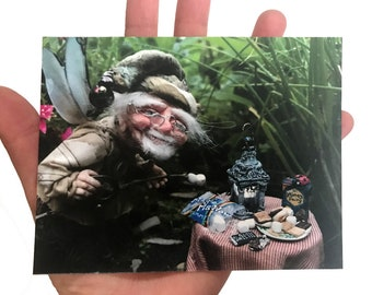 Fairy Postcard, Old Man Fairy at the S'mores Table, Camping Postcard, Unique Fairy Print, Art Doll Print, Fairy Photography, Camping Print
