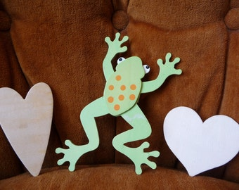 Wood Frog, Wood Cut Outs, Wood Hearts, Craft Supplies, Art Supplies, Decorations, Unique Supplies, Green Frog, Paintable Wood Pieces, Love