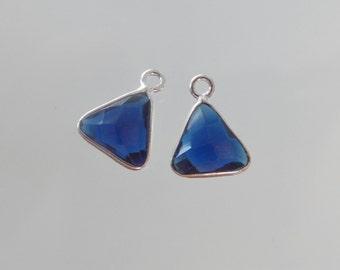 2 pcs, Handmade Triangle London Blue Quartz with Sterling Silver Bezel Rim Pendant Charm - 13x9mm