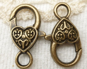 Vintage Look Large Heart Lobster Clasp, Antique Bronze (6) - BF22