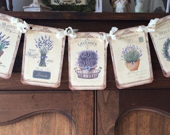 Carte Postale Provence Lavender Flowers Banner Garland, French Country Lavender Garland, Cottage Style Vintage Style Garland