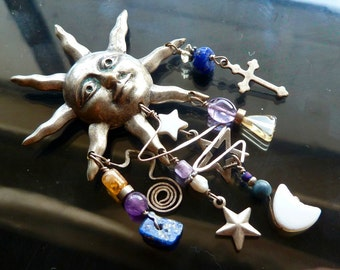 Signs in the Heavens Silver Moon stars and cross pin with blue lapis amethyst and citrine OOAK jewelry