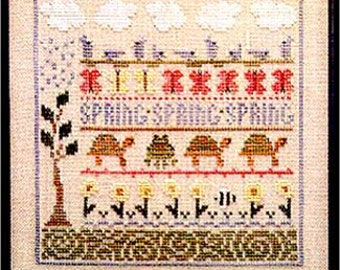 The Trilogy Spring Line Up Counted Cross Stitch Pattern Book Charted Design Needlework Sampler Cross Stitch Chart Turtles Frogs Birds Floral