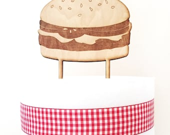 Hamburger Cake Topper, Burger Cake Topper, Birthday Cake Topper, Happy Birthday Cake Topper, wood cake topper, BBQ Cake