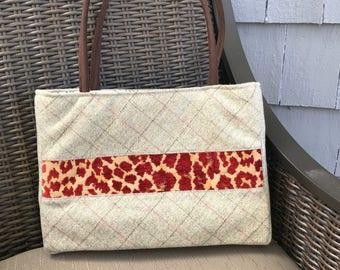 Classic Handbag with Animal Print Stripe