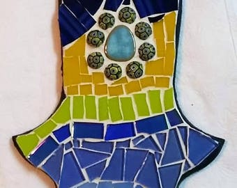 Handmade hamsa, mosaic art, Hamsa, Home decor, Wall art, Home gift, Original, Home design, Mixed media stained glass and beads.