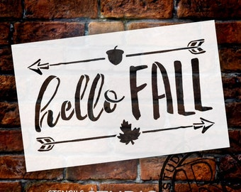 Hello Fall Shabby Chic Word Stencil - Select Size - STCL1453 - by StudioR12