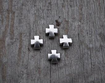 Petite Silver Block Cross//4pc3