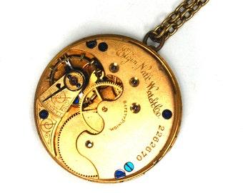 An Elegant Steampunk Pocket Watch Necklace Engraved Antique Elgin Movement Sapphire Blue Screws Gold Brass