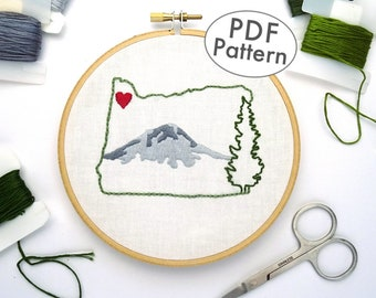 Oregon Embroidery Design, Hand Embroidery Pattern PDF,  State Wall Art, Mountain Embroidery Pattern, DIY Embroidery Download