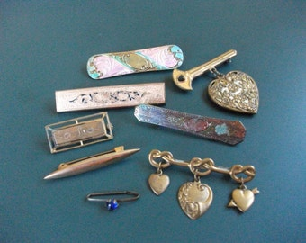 8 Vintage Initial, Hearts, Enamel & Colored Stone Bar Brooch Pins Lot