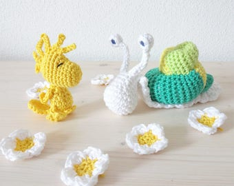 Amigurumi tutorials Pack • Crochet snail and bird • Amigurumi animal • Crochet pattern • PDF pattern • French - English pattern • DIY