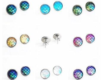 HYPOALLERGENIC EARRINGS Mermaid Earrings 10mm MEDIUM Stud Earrings (Surgical Stainless Steel), Clothing Gift, Fairytale gift