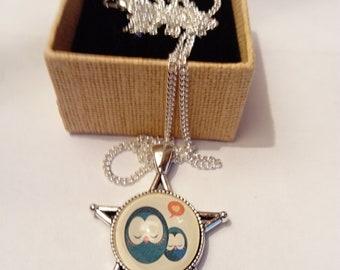 Ethnic silver tone chain necklace cabochon chic original nature bird