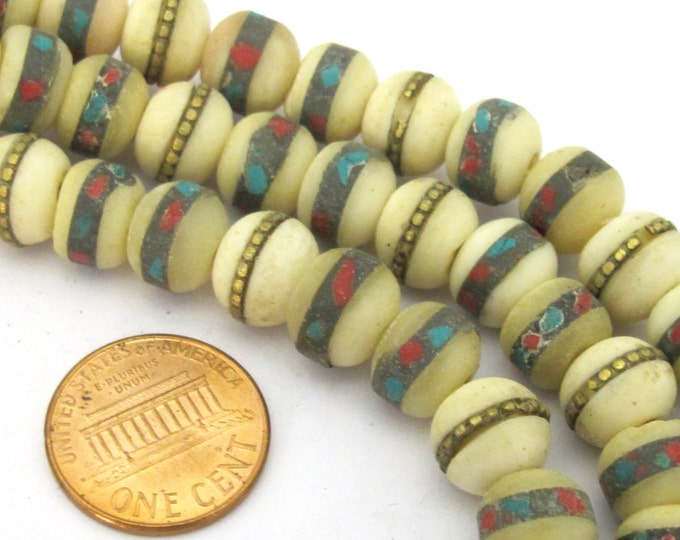 10 beads - 10 mm Tibetan ivory white color bone mala turquoise brass coral inlay beads -  ML039C
