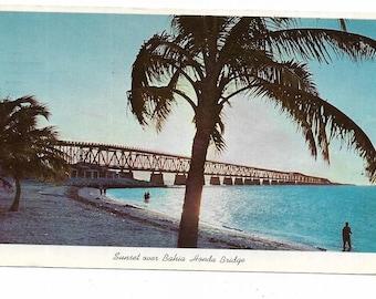 Vintage Florida Chrome Postcard Keys Sunset Over Bahia Honda Bridge Overseas Highway to Key West USED