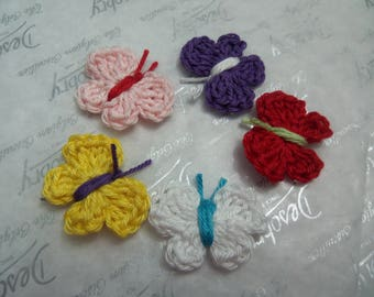 Set of 10 Assorted Crochet Butterfly Appliques. Handmade Crochet Butterfly Appliques.