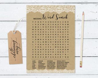 Wedding word search Game. Bridal Shower Game. Rustic Bridal Shower Party. Party Printable Instant Download. Rustic Lace BRSG008