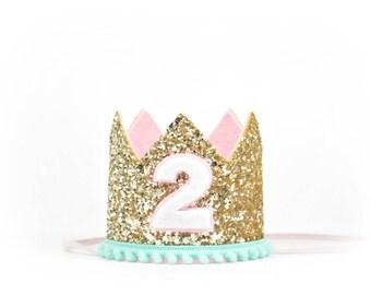 Second Birthday Crown | Girl Birthday Crown | Second Birthday Cake Smash | Girl Party Hat | 2nd Birthday Crown | Birthday Party Hat