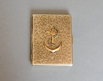 Anchor Cigarette Case Metal Wallet Nautical Case Anchor Metal Wallet Vintage Style Cigarette Case Antique Brass Steampunk Style