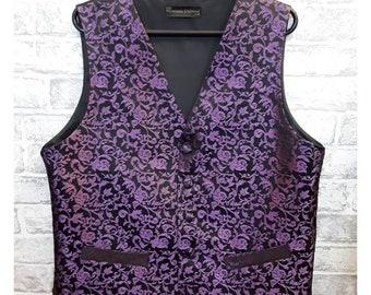 """Men's Wedding Vest, Men's Purple/Black Silk Waistcoat, Men's Purple/Black Silk Vest, Brocade Vest, 40""""-42"""" Chest."""