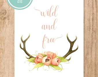 Wild and Free Floral Antler Printable Art