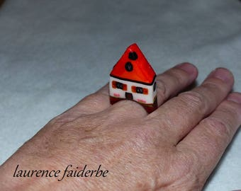 little house made of polymer clay ring size 55
