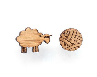 Sheep and yarn earrings - wool and yarn gift - Gift for knitter, New Zealand sheep jewelry