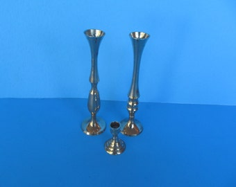 Brass Candle holder -  set of 3  - vintage collectable