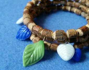 Pressed Glass Leaves and Natural Wood Twig Beaded Wrap Bracelet, handmade memory wire bracelet charm bracelet, green blue white