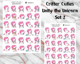 Critter Cuties Unicorn SET 2 Stickers  (planner stickers)
